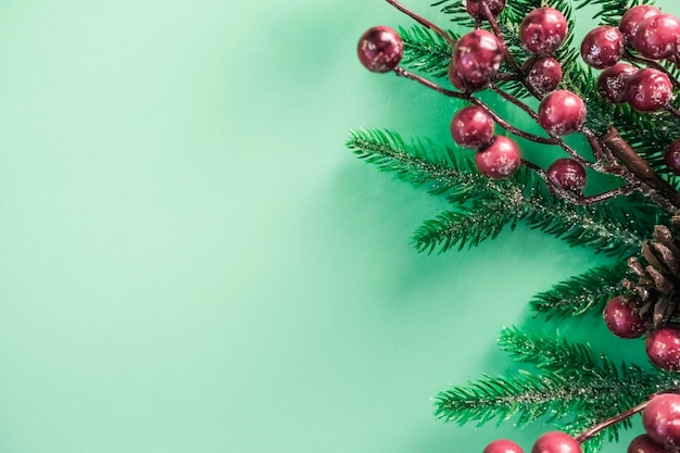 Christmas decorations with red berries and fir branches on a beautiful mint background.