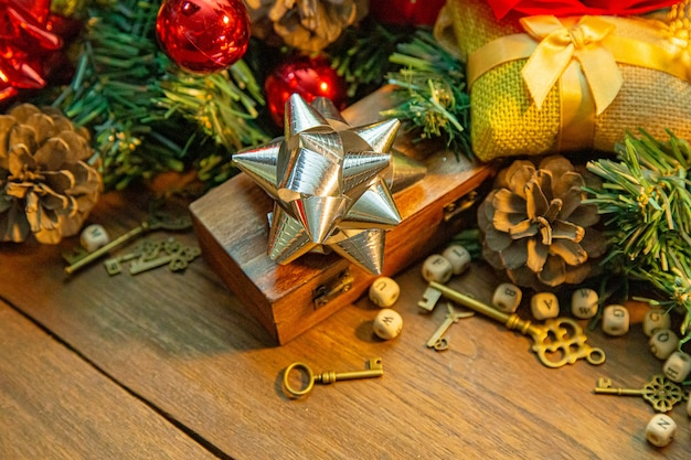 Christmas decorations on wood table for holiday content.