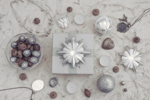 Christmas decorative composition of toys box with a gift