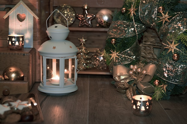 Christmas decoratons on vintage kitchen