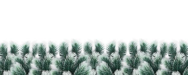 Рождественские украшения еловые ветки со снегом на белом композиции баннер Premium Фотографии