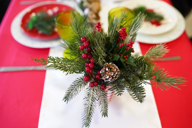 Christmas dinner background with rustic decorations. view from above