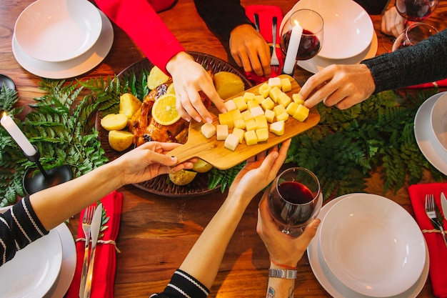 Christmas dinner concept with cheese