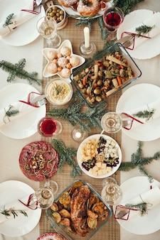 Christmas dinner table top view