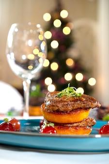 Christmas dishes. foie gras liver closeup.