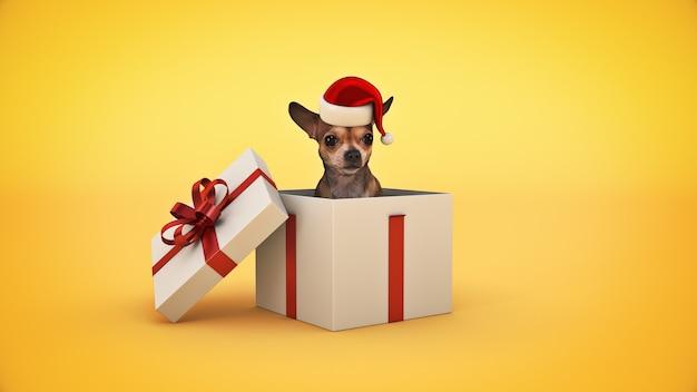 Рождество собака концепция рождество 3d рендеринг