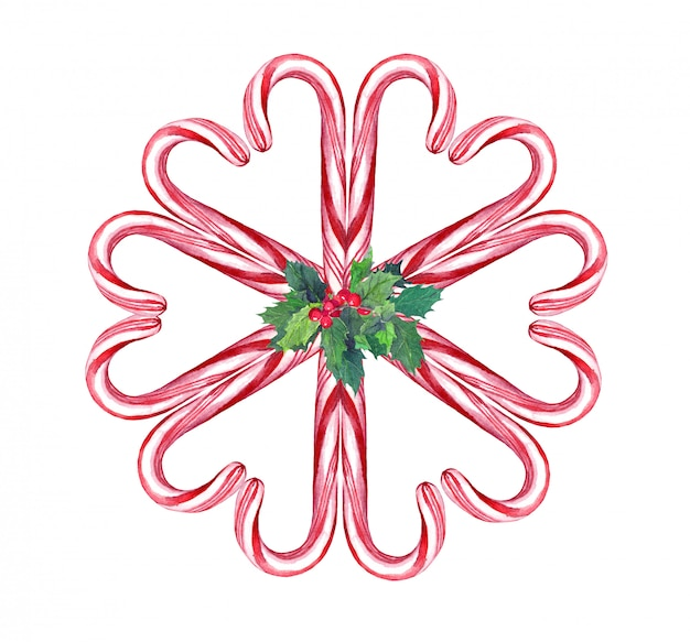 Christmas door wreath, composition with candy cane and xmas mistletoe. watercolor