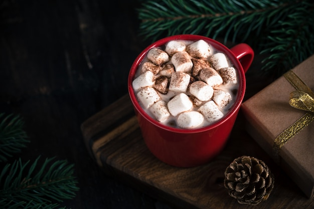Christmas drink, hot chocolate or cocoa, marshmallow and pine branch