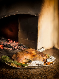 Christmas duck baked in the oven