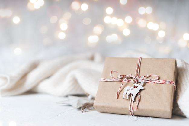 Рождество эко подарок светящийся снег боке зимние каникулы