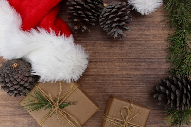 Christmas elements on wooden background