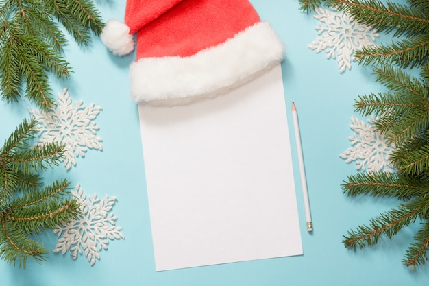 Christmas empty blank letter for santa claus with milk, cookies.