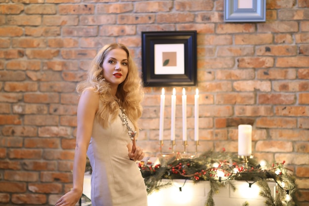Christmas eve, girl in a dress