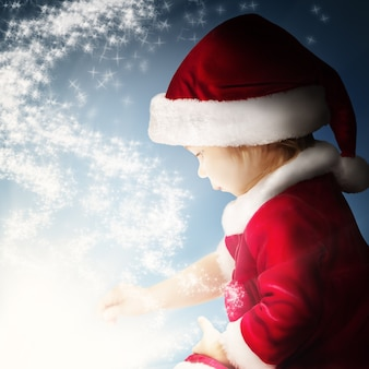 Christmas fantasy background with baby and star light
