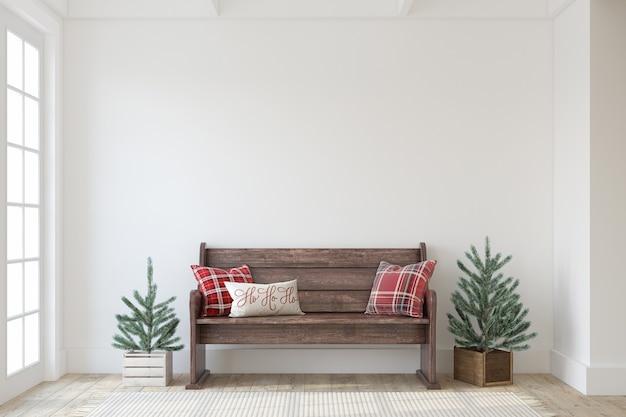 크리스마스 농가 입구. 흰 벽 근처 나무 벤치입니다. 인테리어 모형. 3d 렌더링.