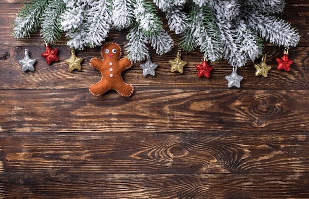 Christmas festive background with toys and tree branches