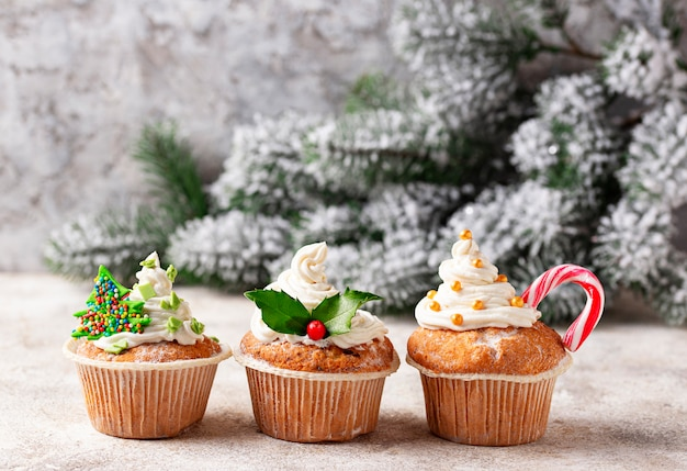 Christmas festive cupcake with different decorations