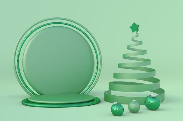 크리스마스 축제 파스텔 녹색 겨울 3d 구성 라운드 연단 xmas 스튜디오 축제 새해