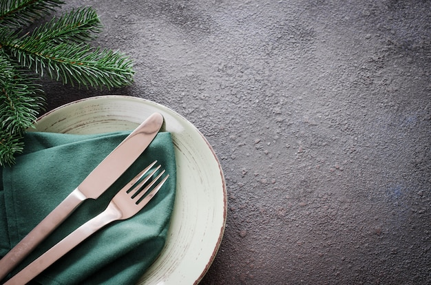 Christmas festive table setting with copy space.