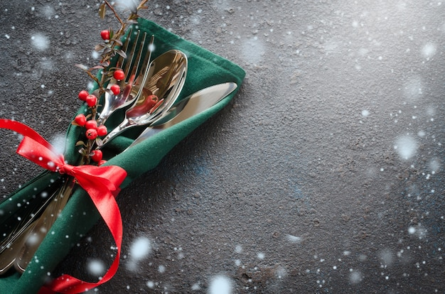Christmas festive table setting with xmas decorations. copy space.