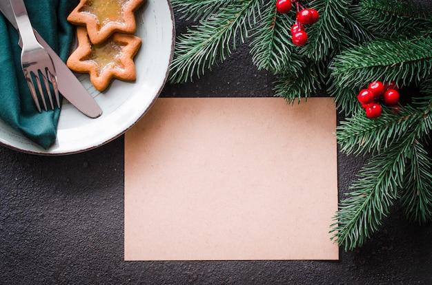 Christmas festive table setting