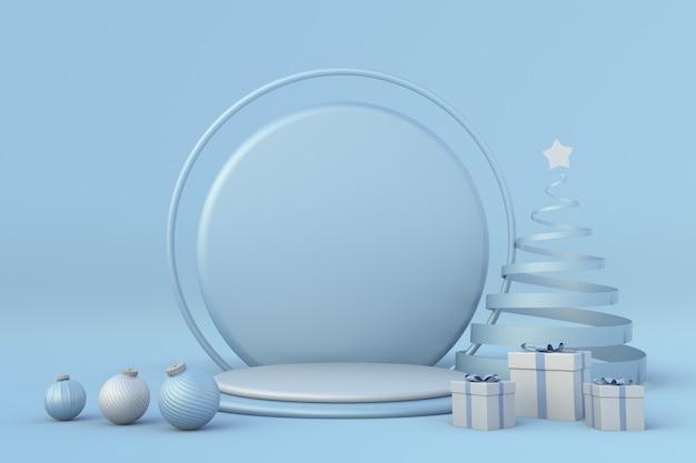 クリスマスのお祝いの冬の3d構成青い表彰台のクリスマススタジオ最小限のお祝いの新年