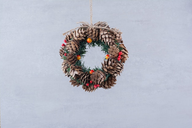 Christmas festive wreath with brunch of tree .