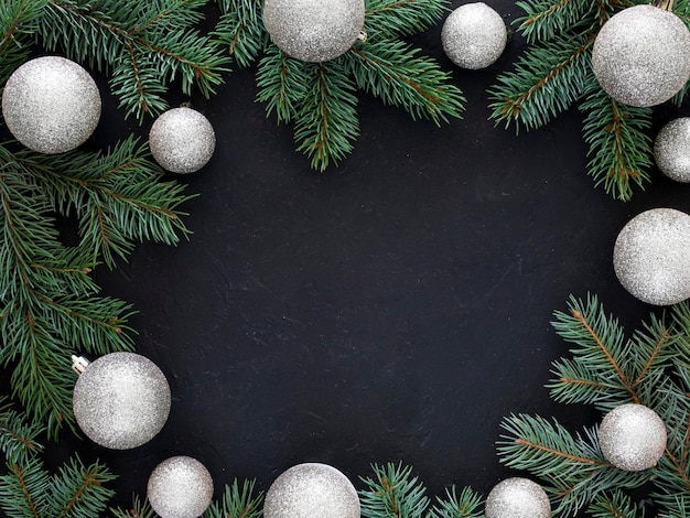 Christmas fir branch with copy space