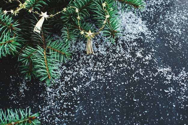 Abete di natale sulla superficie scura con la neve