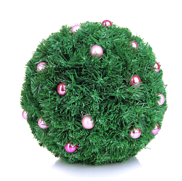 Christmas fir-tree ball with decoration isolated on white surface