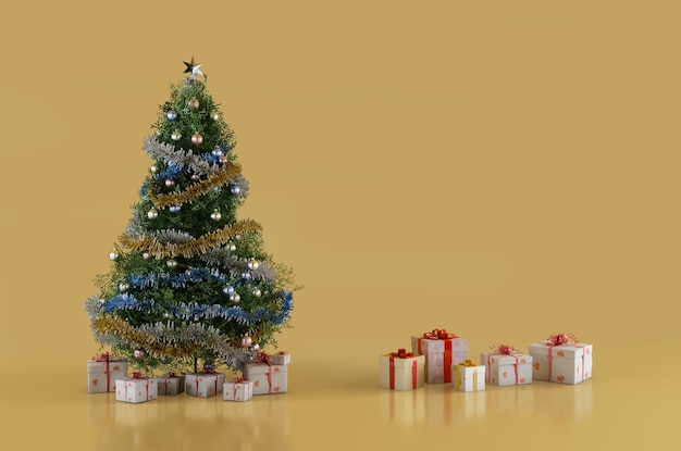 Christmas fir tree and christmas presents boxes 3d-illustration with copy space on the right