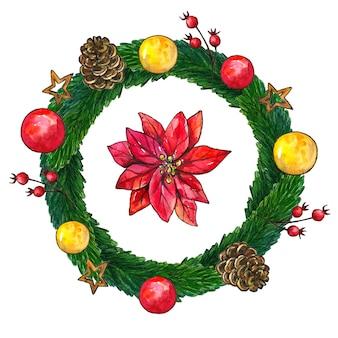 装飾とボールが付いているクリスマスのモミの花輪。手描きの水彩イラスト。孤立。