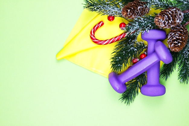 Christmas fitness. healthy and active lifestyles greeting card concept