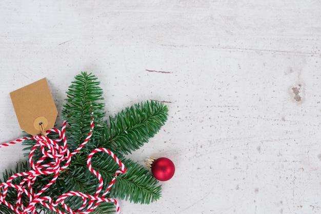 Рождественская квартира в стиле сцены с украшениями и копией пространства