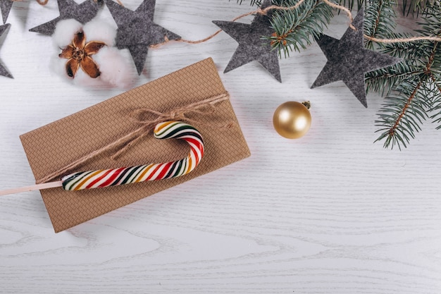 Christmas flat lay on wooden background