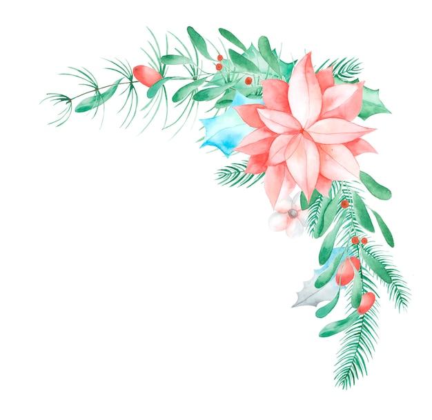 クリスマスの花の装飾。手描きの伝統的な花と植物:ヒイラギ、ヤドリギ、果実、白い背景で隔離のモミの枝。