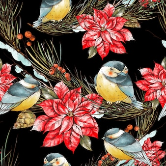 Christmas floral seamless pattern with fir branches, birds titmouse and poinsettia flowers.