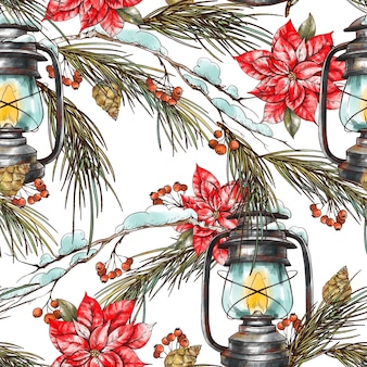 Рождественский цветочный фон с еловыми ветками, с деревенскими фонарями и цветами пуансеттии.
