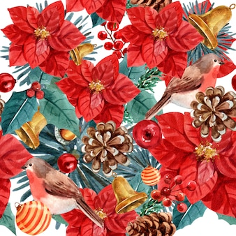Christmas floral watercolor seamless pattern.