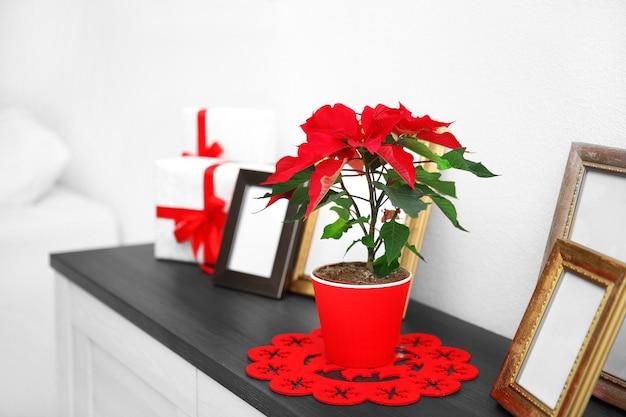 クリスマスの花のポインセチアと明るい背景の上のクリスマスの装飾が施された引き出しの装飾