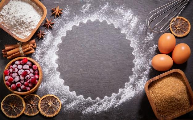 크리스마스 음식 재료 크리스마스 베이킹 주방 용품 냉동 크랜베리 계란 가루