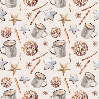 Christmas food seamless pattern. watercolor cookies and cocoa cup texture.