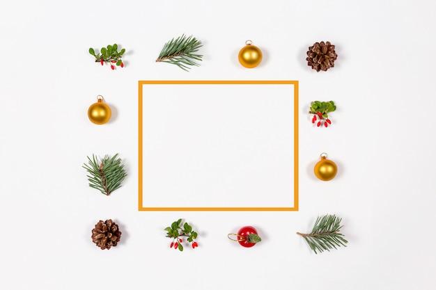Christmas frame background. creative holidays flat lay.