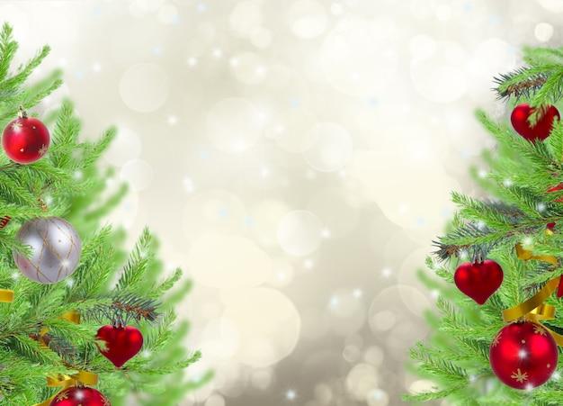 灰色のきらめく背景に飾られたモミの木とクリスマスフレームの背景
