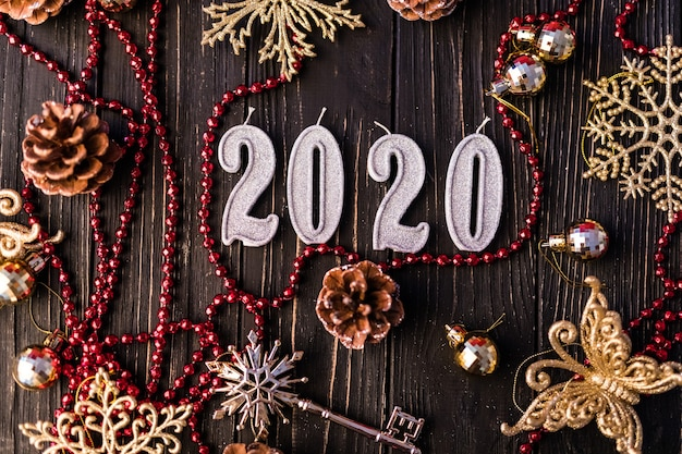 Christmas frame. christmas gifts, bows, decor. flat lay, top view. new year 2020 decoration