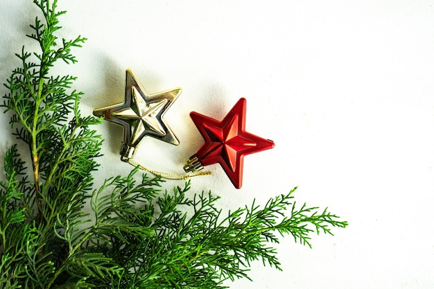 Christmas frame concept with evergreen thuja plant and star-shaped baubles