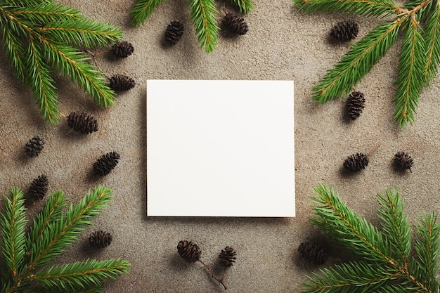 Christmas frame made of conifer branches.