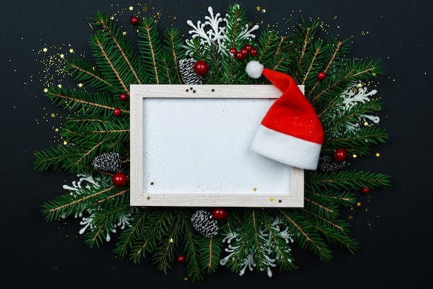 Christmas frame mockup for greeting cards on a black.