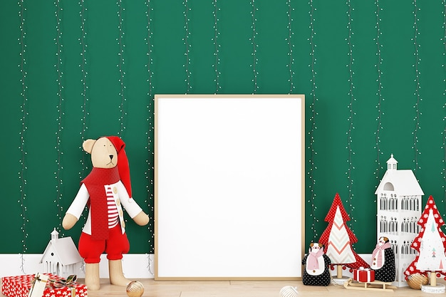 녹색 배경에 크리스마스 프레임 이랑