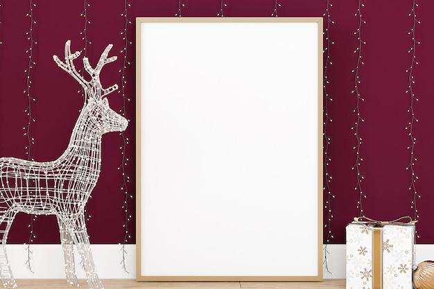 Макет новогодней рамки с декоративным оленем